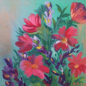 red purple painted vase of flowers wall art