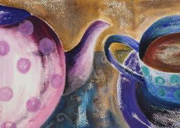 wall art painting and oil pastels original art pink purple teapot cup