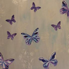 Purple blue silver painted butterflies framed canvas wall art