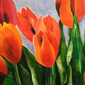 Wall art one off original acrylic painting of tulips red orange green blue