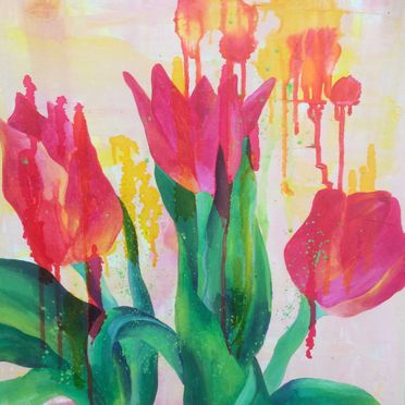 Flowers tulips one off original acrylic painting canvas wall art red pink orange contemporary unique