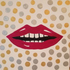 pop art gold silver pink lips wall art original painting signed