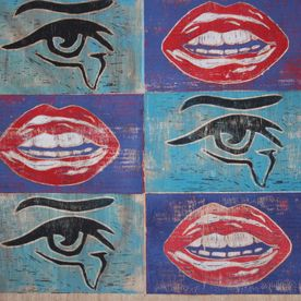 blue black red mouth eye pop art print wall art