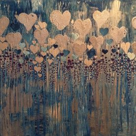 abstract wall art canvas one off original silver hearts texture blue