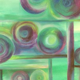 Abstract oil pastel circles in turquoises and reds framed wall art