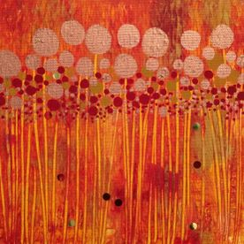 wall art canvas one off original red gold yellow sequins abstract art