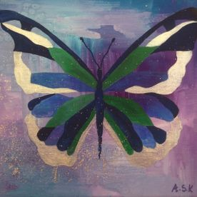 blue green silver butterfly purple background painted canvas one off original wall art