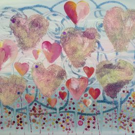 wall art in pinks blue glitter hearts one off original