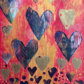 wall art gold hearts one off original
