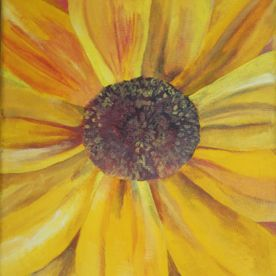yellow painted sunflower canvas wall art