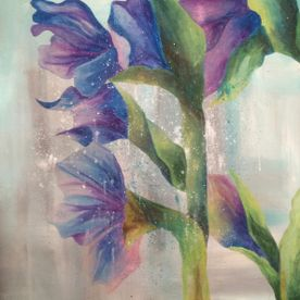 Purple and blue gladioli framed wall art