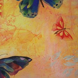 Painted butterflies on a canvas wall art