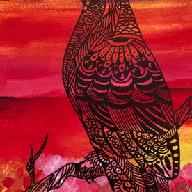 bird falcon art painting wall art contemporary modern original painting mixed media red yellow black sunset painting