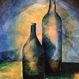 wall art contemporary still life painting mixed media gold blue green wine bottles affordable art modern