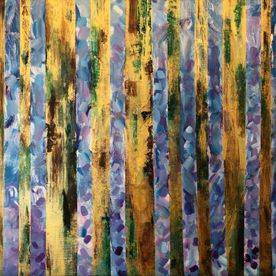wall art bluebell woods purple gold trees flowers contemporary one off original affordable art
