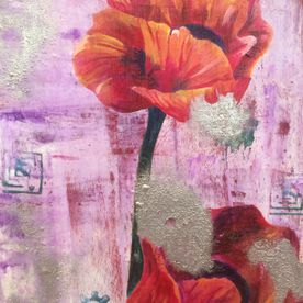 Red poppies silver embossing canvas wall art