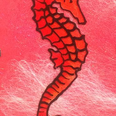 Red Orange seahorse painted on glass pink silver background black outliner