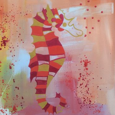 orange red seahorse acrylic paint on canvas wall art bathroom original affordable