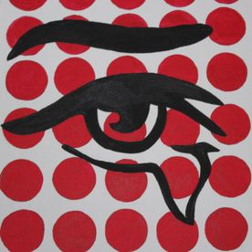 pop art painting spots eye canvas original wall art