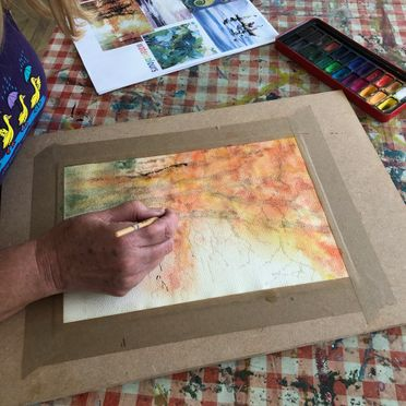 watercolours and afternoon tea experience art gallery studio artist learn painting mindfulness wellbeing family hen do party