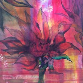 floral wall art pinks red purple mixed media framed one off original