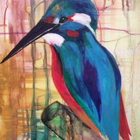 acrylic ink painted blue kingfisher original canvas art work