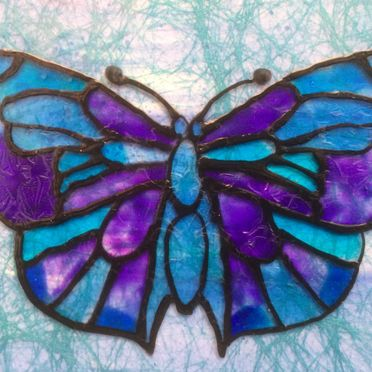 blue purple butterfly glass painting black outliner wall art