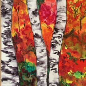wall art watercolour woodland abstract red yellow green