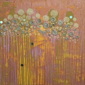 acrylic painting wall art abstract one off original gold copper sequins