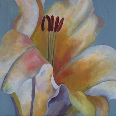 yellow lily art acrylic painting one off original wall art flowers