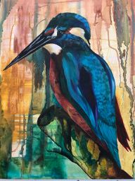acrylic and ink painting canvas wall art kingfisher turquoise blue birds one off original modern contemporary