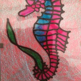 pink turquoise seahorse glass painting one off original wall art