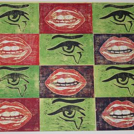 red black green white pop art mouths and eyes original wall art print