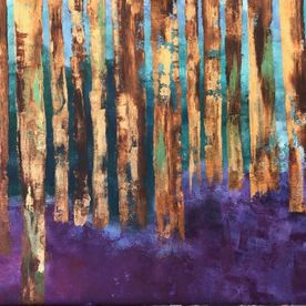 acrylic painting wall art contemporary modern original gold purple green