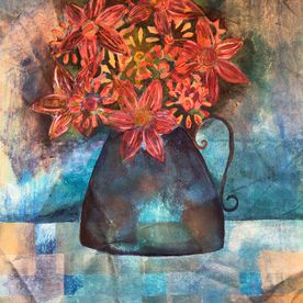 wall art jug of flowers mixed media one off original blues turquoise printed flowers affordable modern contemporary art