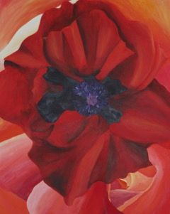 Flowers poppy one off original acrylic painting canvas wall art red purple black orange